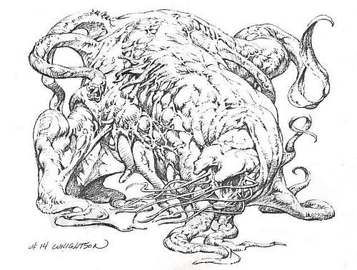 Criatura Lovecraftiana dibujada por Bernie Wrightson